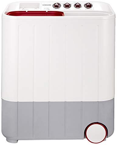 Samsung 6.5 kg Semi-Automatic Top Loading Washing Machine (WT657QPNDPGXTL, White and Maroon, Double Storm Pulsator)