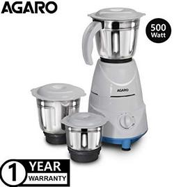 AGARO-Magnus-500-Watt-Mixer-Grinder-with-3-Stainless-Steel-Jars-Blue-White