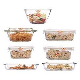 Femora-Borosilicate-Glass-Microwave-Safe-Kitchen-Set-for-Serving-Storage-Baking-Cooking-Set-of-7-Clear-White