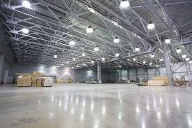 LED bay lights installed in the warehouse